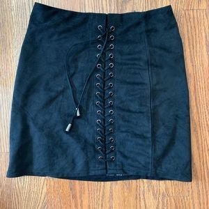 black suede lace up skirt